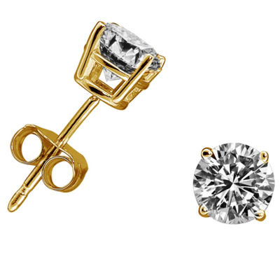 3/8 CT. T.W. Genuine White Diamond 14K Gold 4.5mm Stud Earrings