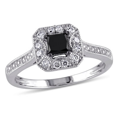 Midnight Black Diamond 1/2 CT. T.W. White and Color-Enhanced Black Diamond 10K White Gold Engagement Ring