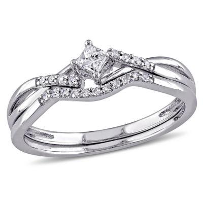 1/5 CT. T.W. Diamond Bridal Ring Set Sterling Silver