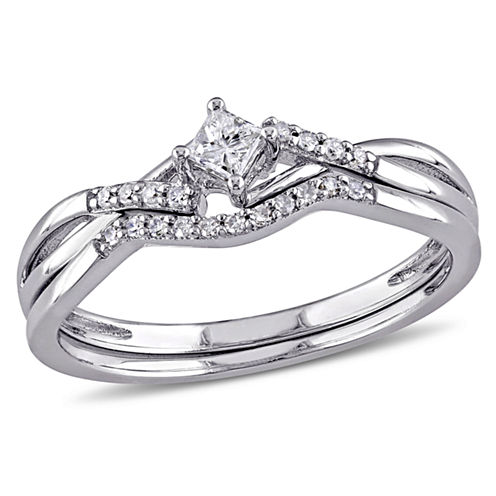 1/5 CT. T.W. Diamond Bridal Ring Set Sterling Silver