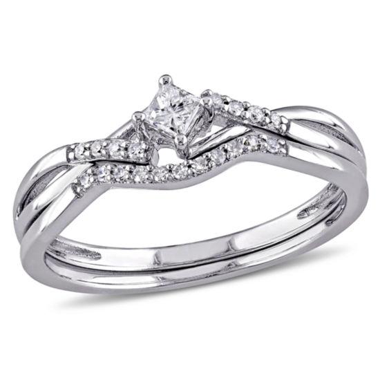 1 5 Ct Tw Diamond Bridal Ring Set Sterling Silver