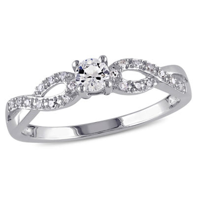1/10 CT. T.W. Diamond & Lab-Created White Sapphire Engagement Ring