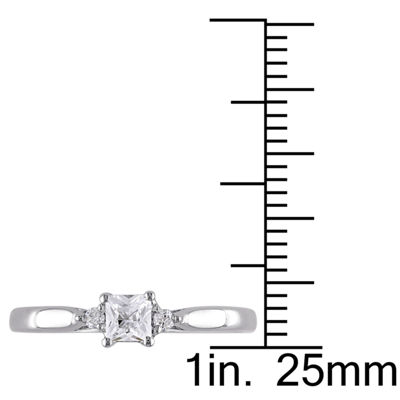 Lab-Created White Sapphire & Diamond-Accent Engagement Ring