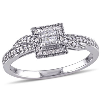1/4 CT. T.W. Diamond 10K White Gold Vintage-Style Quad Princess Bridal Ring