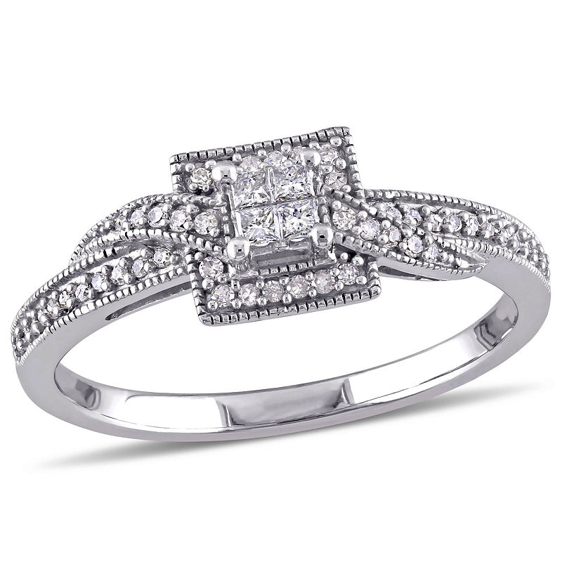1/4 CT. T.W. Diamond 10K White Gold Vintage-Style Quad Princess Bridal Ring
