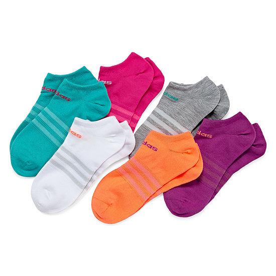 adidas-Big Kid Girls 6-pc. No Show Socks - Size Medium