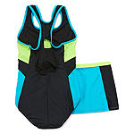 Zero Xposure One Piece Swimsuit with Matching Skirt- Big Kid Girls