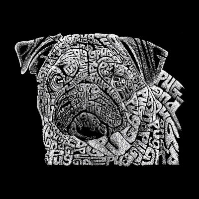 Los Angeles Pop Art Sleeveless Pug Face Word Art T-Shirt