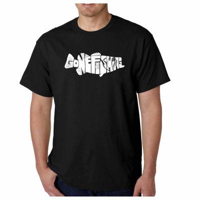 Los Angeles Pop Art Gone Fishing Short Sleeve WordArt T-Shirt