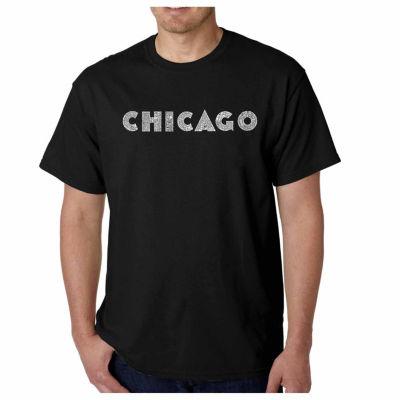 Los Angeles Pop Art Chicago Neighborhoods Short Sleeve Word Art T-Shirt