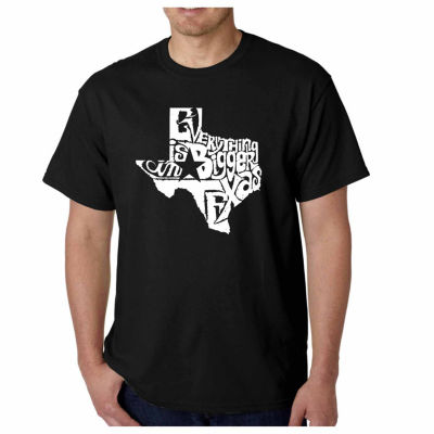 Los Angeles Pop Art Everything is Bigger in TexasShort Sleeve Word Art T-Shirt