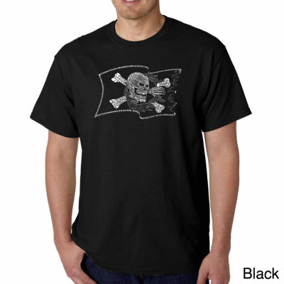 Los Angeles Pop Art Famous Pirate Captains and Ships Short Sleeve Word Art T-Shirt