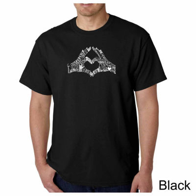 Los Angeles Pop Art Finger Heart Short Sleeve WordArt T-Shirt
