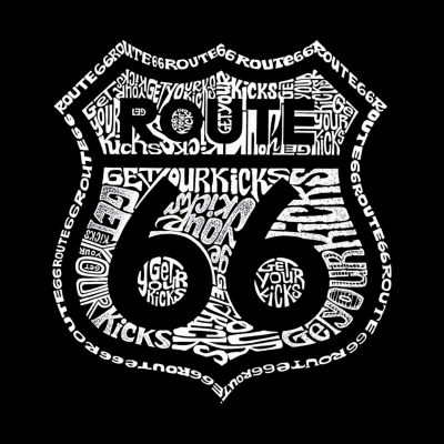 Los Angeles Pop Art Get Your Kicks on Route 66 Short Sleeve Word Art T-Shirt