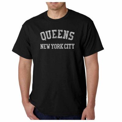 Los Angeles Pop Art Popular Neighborhoods in Queens NY Short Sleeve Word Art T-Shirt