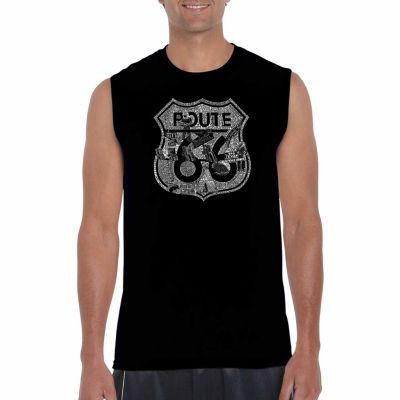 Los Angeles Pop Art Sleeveless Stops Along Route 66 Word Art T-Shirt