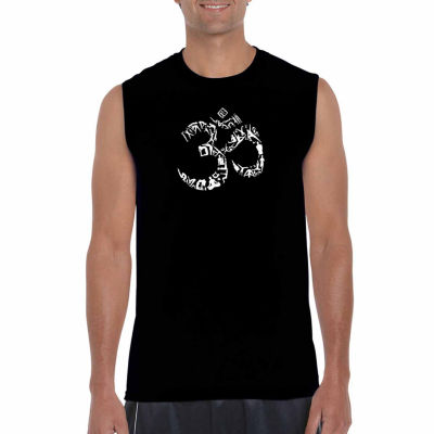 Los Angeles Pop Art Sleeveless the Om Symbol Out of Yoga Poses Word Art T-Shirt