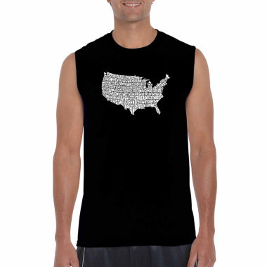 Los Angeles Pop Art Sleeveless the Star Spangled Banner Word Art T-Shirt