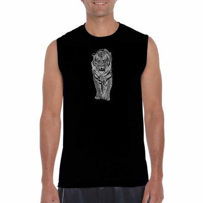 Los Angeles Pop Art Sleeveless Tiger Word Art T-Shirt