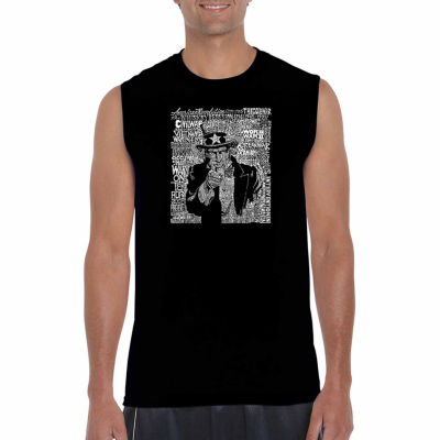 Los Angeles Pop Art Sleeveless Uncle Sam Word ArtT-Shirt