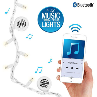 Bright Tunes BRT-100 Indoor/Outdoor White LED String Lights with Bluetooth Speakers