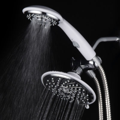 HotelSpa® Designer 2-Tone Chrome / White Finish Ultra-Luxury 30-Setting 3-way Rainfall/Handheld Shower with Switch Combo