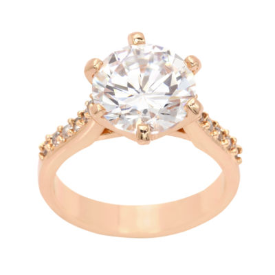 Sparkle Allure Sparkle Allure Womens Clear 14k Rose Gold Over Brass Round Cocktail Ring