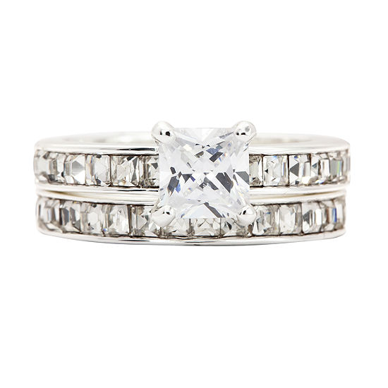 Crystal Sophistication Womens 2 CT. T.W. Pure Silver Over Brass Square Cocktail Ring