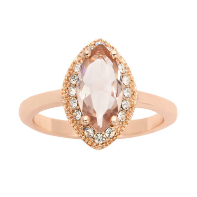 Sparkle Allure Sparkle Allure Womens Pink 14k Rose Gold Over Brass Cocktail Ring
