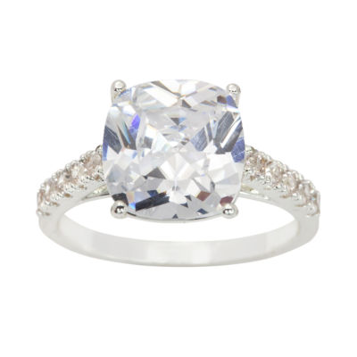 Sparkle Allure Sparkle Allure Womens Greater Than 6 CT. T.W. Clear Brass Cocktail Ring