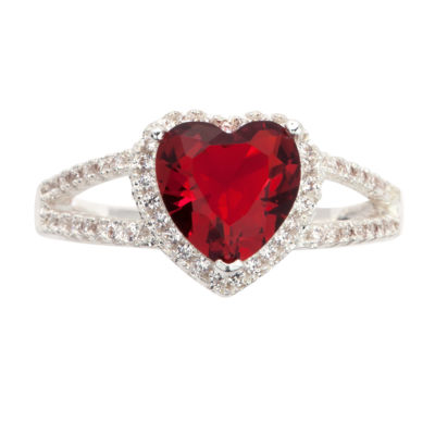 Sparkle Allure Sparkle Allure Womens 1/5 CT. T.W. Red Pure Silver Over Brass Cocktail Ring