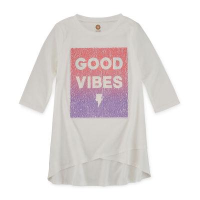 Total Girl 3/4 Sleeve Flip Sequin Tunic - Girls' 7-16 & Plus