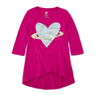 Total Girl 3/4 Sleeve Flip Sequin Tunic - Girls' 7-16 & Plus
