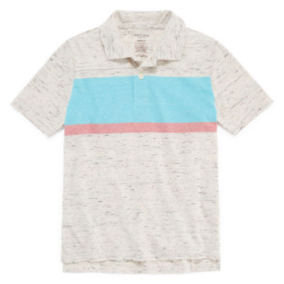 Arizona Short Sleeve Stripe Polo Shirt Boys 4-20, Regular & Husky