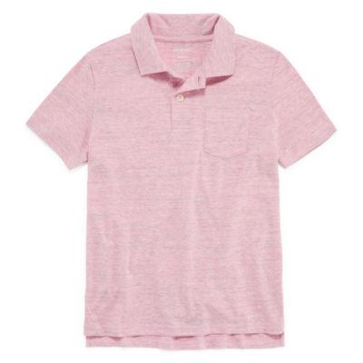 Arizona Short Sleeve Solid Textured Polo Shirt -Boys 4-20