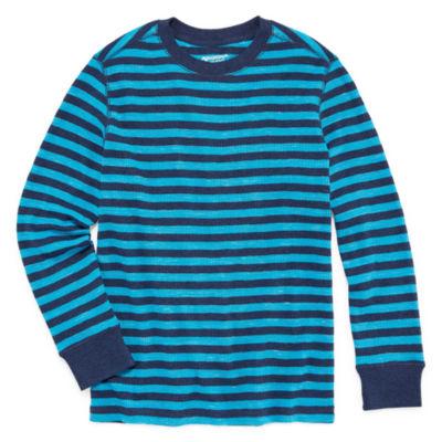 Arizona Long Sleeve Stripe Thermal Top - Big Kid Boys