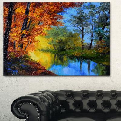 Designart Autumn Reflecting In River Landscape Artwork Canvas