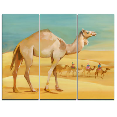 Designart Camel Walking In Desert Watercolor Animal Canvas Print - 3 Panels
