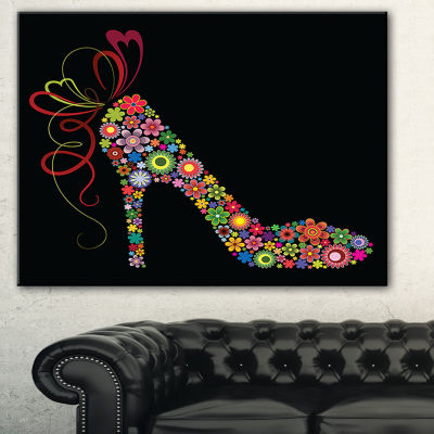 Designart Colorful Shoe With A Bow Abstract CanvasArt Print