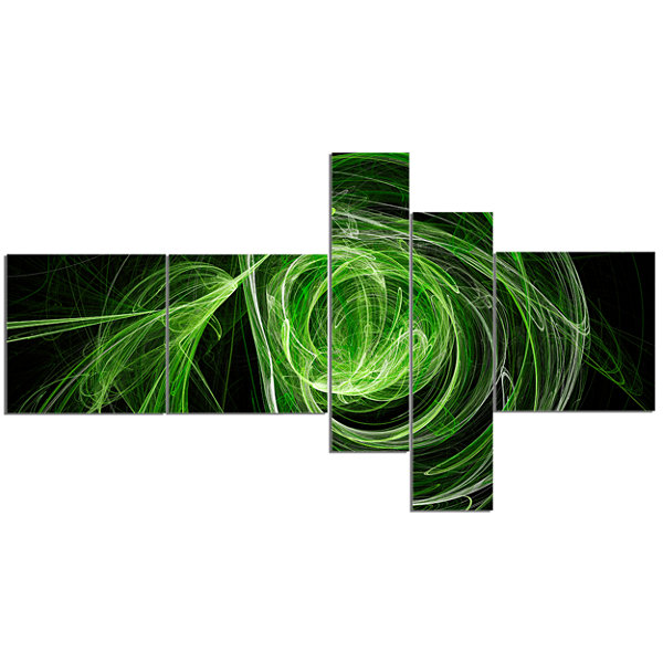 Designart Green Ball Of Yarn Multipanel AbstractCanvas Art Print - 5 Panels