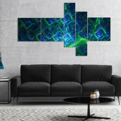 Designart Green Blue Electric Lightning MultipanelAbstract Art On Canvas - 4 Panels