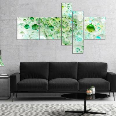 Designart Green Blue Fractal Molecules MultipanelAbstract Wall Art Canvas - 5 Panels