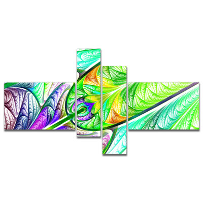 Designart Green Blue Fractal Stained Glass Multipanel Abstract Wall Art Canvas - 4 Panels