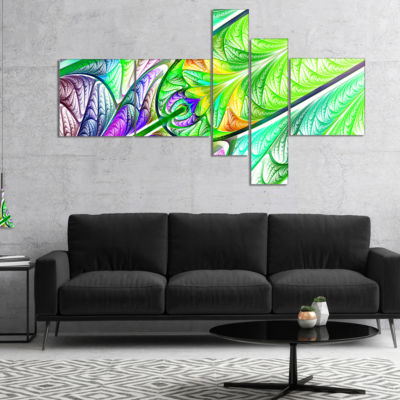 Designart Green Blue Fractal Stained Glass Multipanel Abstract Wall Art Canvas - 5 Panels
