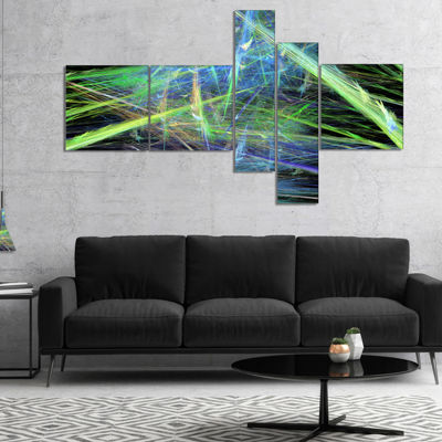 Designart Green Blue Magical Fractal Pattern Multipanel Abstract Canvas Wall Art - 5 Panels