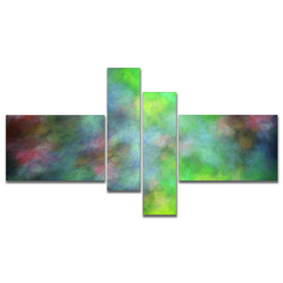 Designart Green Blue Sky With Stars Multipanel Abstract Canvas Art Print - 4 Panels