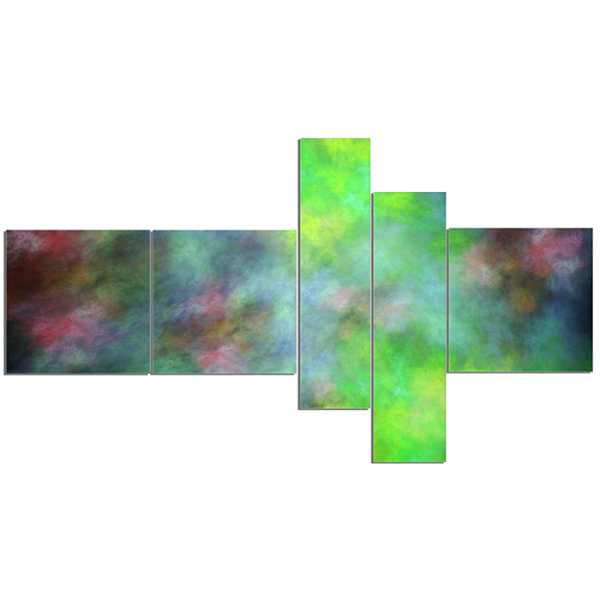 Designart Green Blue Sky With Stars Multipanel Abstract Canvas Art Print - 5 Panels