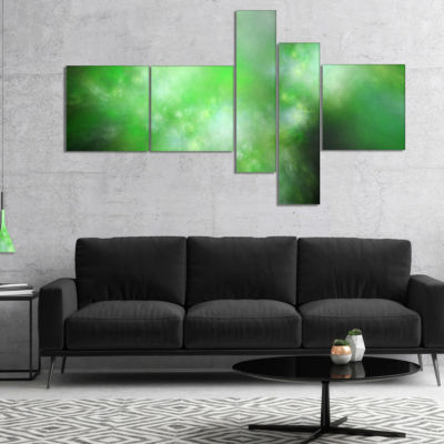 Designart Green Blur Sky With Stars Multipanel Abstract Canvas Art Print - 5 Panels