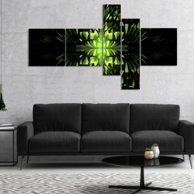 Designart Green Butterfly Pattern On Black Multipanel Abstract Wall Art Canvas - 4 Panels