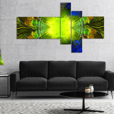 Designart Green Golden Fractal Stained Glass Multipanel Abstract Canvas Art Print - 4 Panels